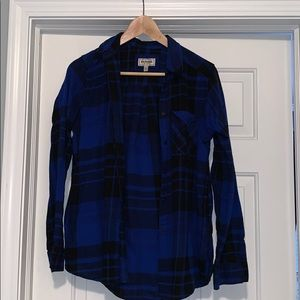 Blue and black fuzzy flannel